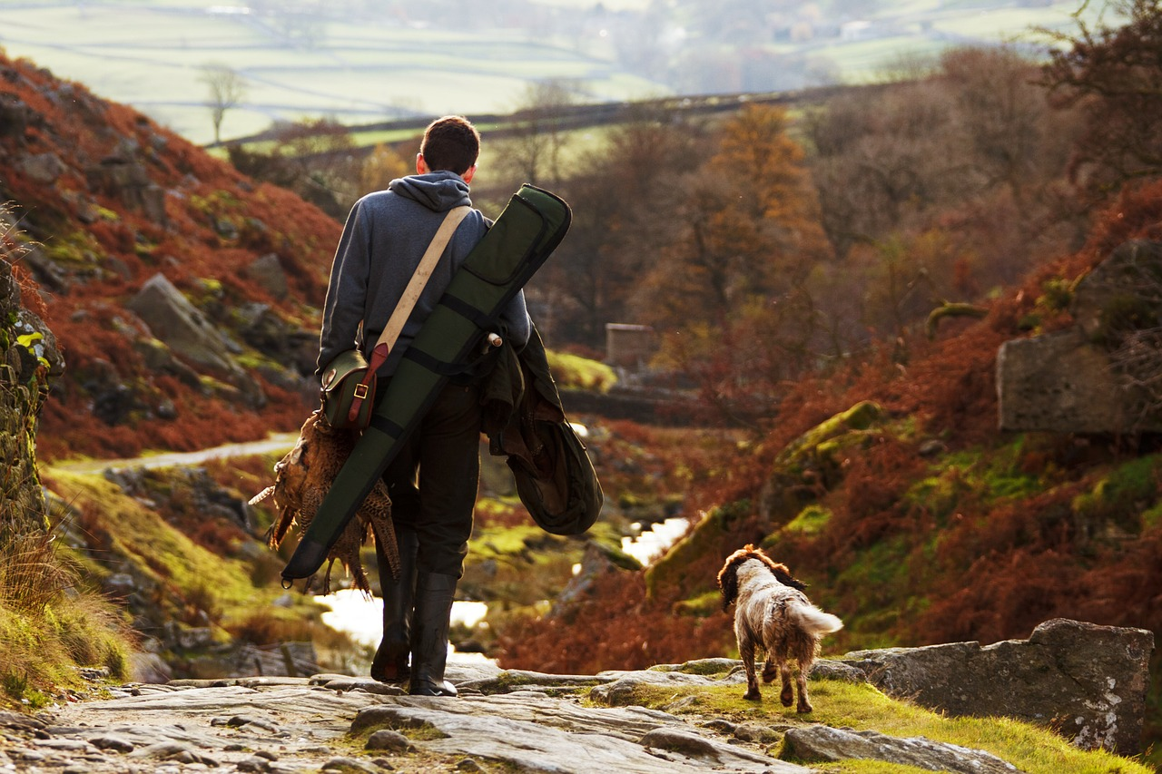 Hunter and his game with dog walking through a fall colored valley