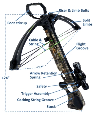 Illustration of the safety features on a camouflage cross bow
